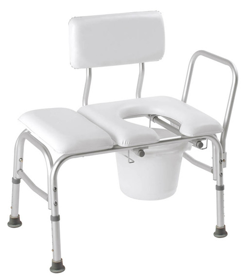Carex Deluxe Padded Transfer Bench with Opening & Bucket
