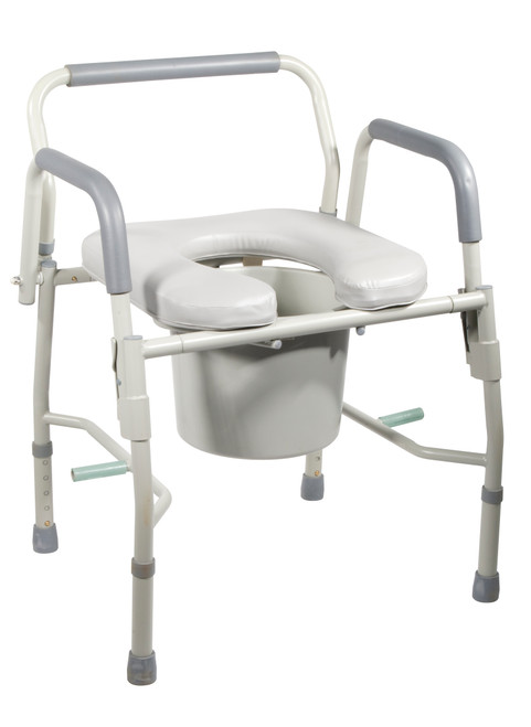 Steel Drop Arm Bedside Commode with Padded Seat