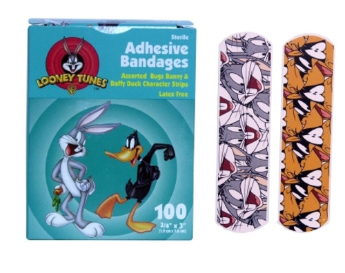 Adhesive Strip Stat Strip Plastic Rectangle Kid Design Looney Tunes / Bugs and Daffy) Sterile