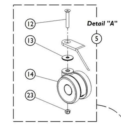 Kit Rear Caster w/Hardware Locking 2 Each 9153653801