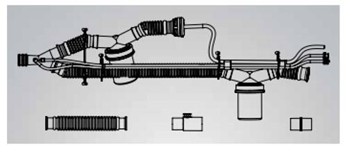 Patient Circuit w/o PEEP w/2 Water Trap, SPU 22mm