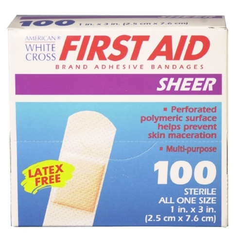 Adhesive Strip American White Cross First Aid Plastic Rectangle Sheer Sterile