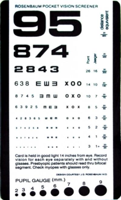 Pocket Size Plastic Eye Chart