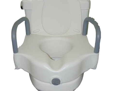 Locking Raised Toilet Seat with Padded Armrests
