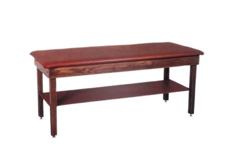 Wooden Treatment Table - H-Brace, Shelf, Upholstered