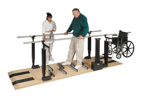 parallel bars wood platform mounted electric heightmanual width adjustable
