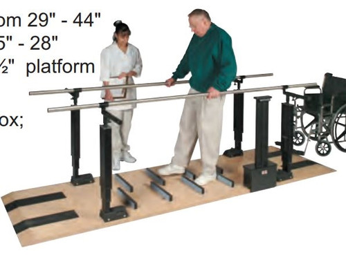 parallel bars wood platform mounted electric heightwidth adjustable