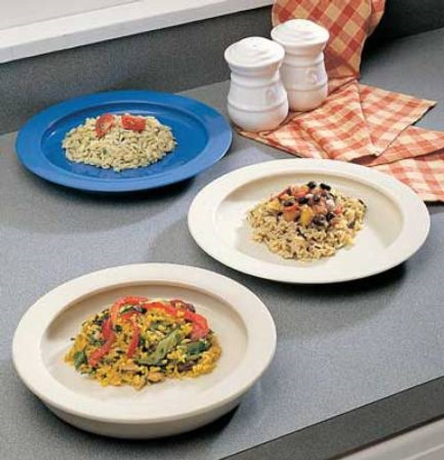 Plate with Inside Edge Off White Reusable Polypropylene