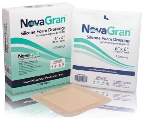Silicone Foam Dressing NovaGran Square Silicone Adhesive with Border Sterile