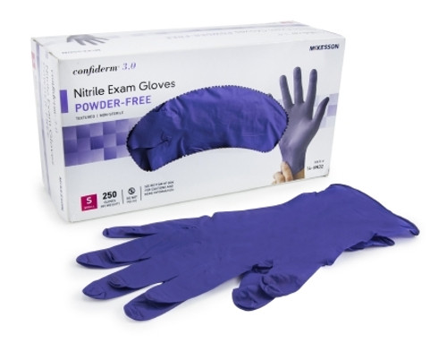 Exam Glove McKesson Confiderm 3.0 NonSterile Blue Powder Free Nitrile Ambidextrous Textured Fingertips Not Chemo Approved