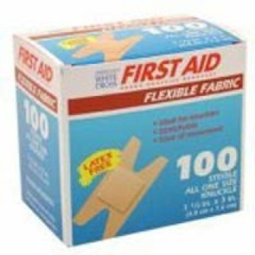 Adhesive Strip American White Cross First Aid Fabric Knuckle Tan Sterile