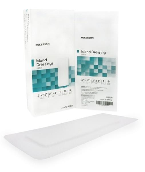 Adhesive Dressing McKesson Polypropylene Rayon Rectangle White Sterile