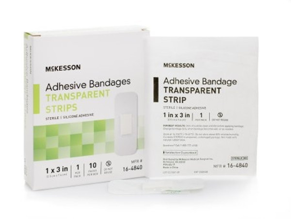 Adhesive Strip McKesson Silicone Rectangle Sheer Sterile