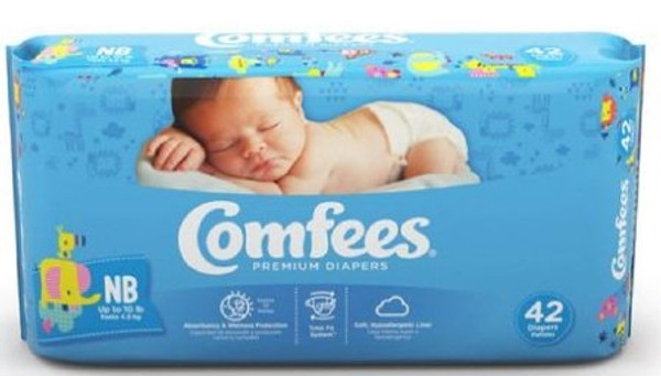 Baby Diaper Comfees Tab Closure Newborn Disposable Moderate Absorbency