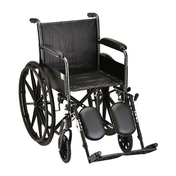 18 Inch Steel Wheelchair Fixed Arms & Elevating Leg Rests