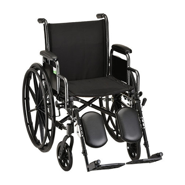 18 Inch Steel Wheelchair with Detachable Arms & Elevating Footrests