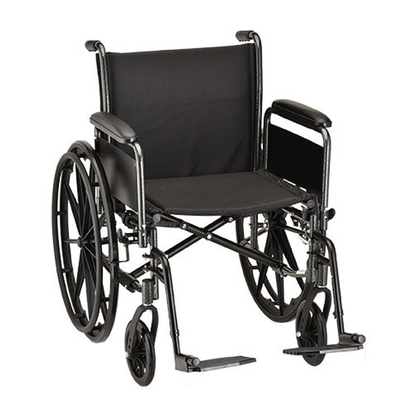 20 Inch Steel Wheelchair with Full Arms and Footrests