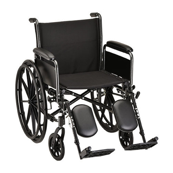 20 Inch Steel Wheelchair Detachable Full Arms and Elevating Leg Rests