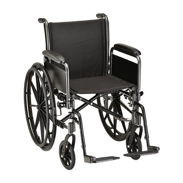 18 inch Steel Wheelchair with Detachable Full Arms and Footrests