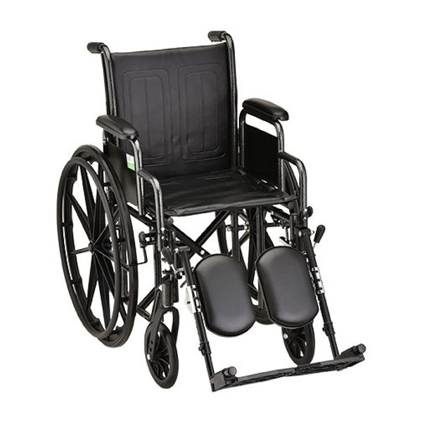 16 Inch Steel Wheelchair w/ Detachable Arms & Elevating Leg Rests