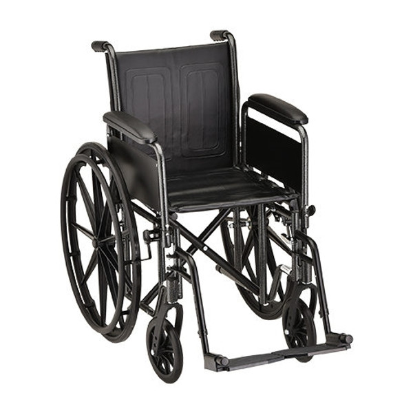 16 Inch Steel Wheelchair Detachable Arms & Footrests