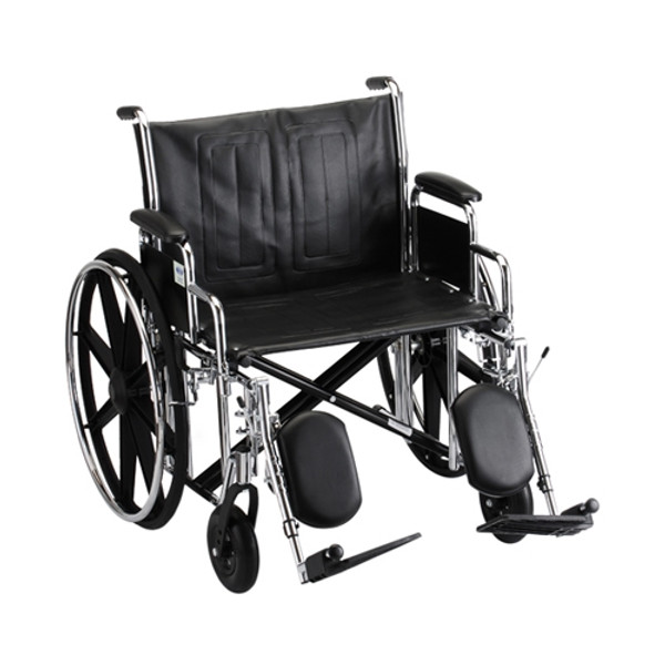 24 Inch Steel Wheelchair w/ Detachable Desk Arms & Elevating Leg Rests