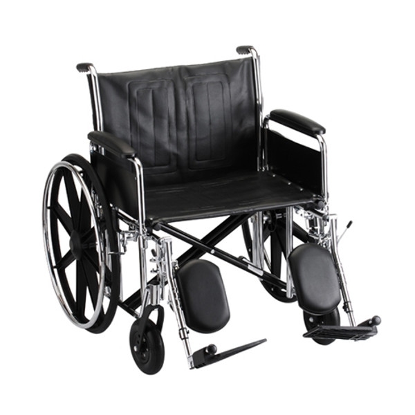 24 Inch Steel Wheelchair Detachable Full Arms & Elevating Leg Rests