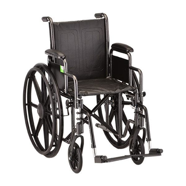 18 Inch Steel Wheelchair Detachable Arms & Swing Away Footrests