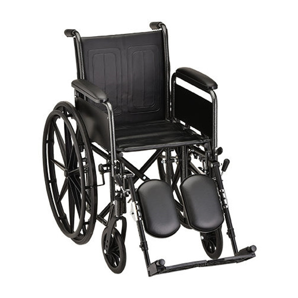 18 Inch Steel Wheelchair with Detachable Full Arms & Elevating Leg Rests
