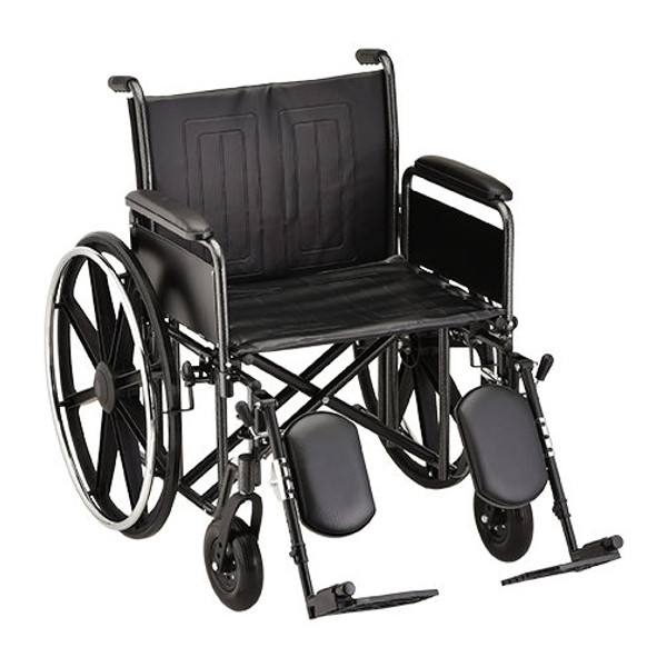 22 Inch Steel Wheelchair with Detachable Full Arms and Elevating Leg Rests