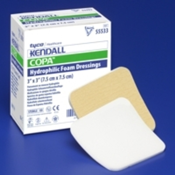 Foam Dressing Kendall Rectangle Non-Adhesive without Border Sterile