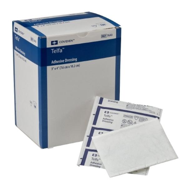 Adhesive Dressing Telfa Film  Cotton Rectangle White Sterile