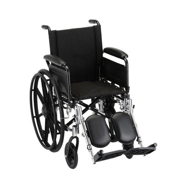 16 Inch Lightweight Wheelchair w/ Full Arms & Elevating Leg Rests
