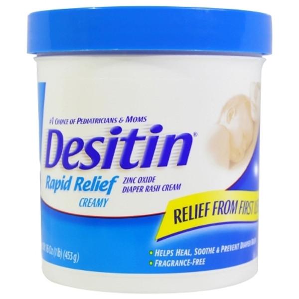 Desitin Rapid Relief Diaper Rash Treatment 1lb. Jar Unscented Ointment