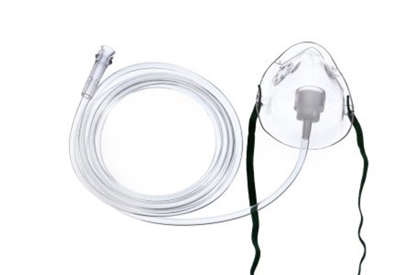 Oxygen Mask Short Pediatric One Size Fits Most Adjustable Nose Clip / Elastic Strap