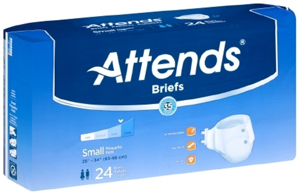 Adult Incontinent Brief Attends Tab Closure Small Disposable Heavy Absorbency