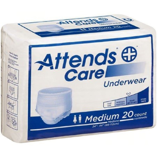 Adult Absorbent Underwear Attends Care Pull On Medium Disposable Moderate Absorbency