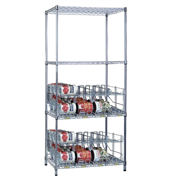 2 Tier Can Rack System, 3 Wire Shelves & 8 Modules - 64 #10 Cans