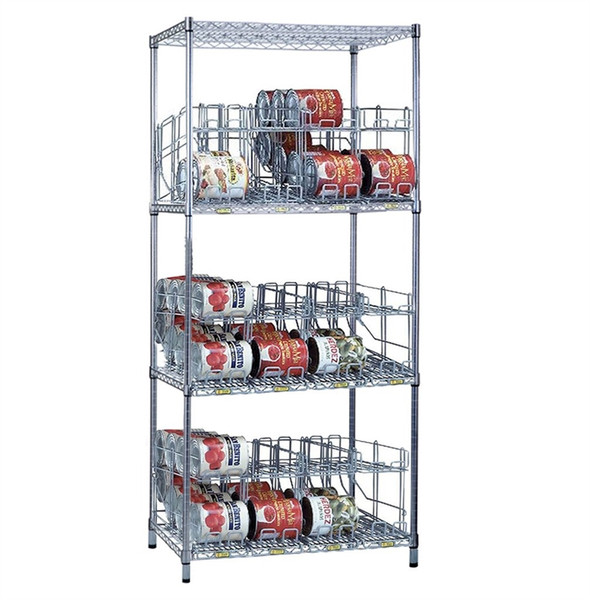 3 Tier Can Rack System, 3 Wire Shelves & 12 Modules - 96 #10 Cans