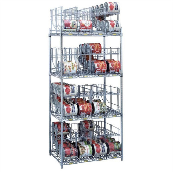 4 Tier Can Rack System, 4 Wire Shelves & 16 Modules - 128 #10 Cans