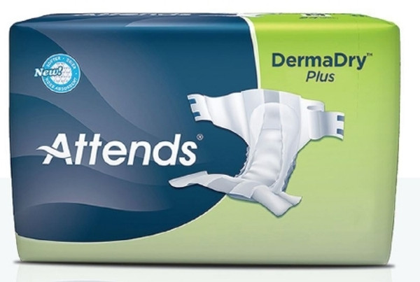 Adult Incontinent Brief Attends DermaDry Plus Tab Closure Disposable Moderate Absorbency