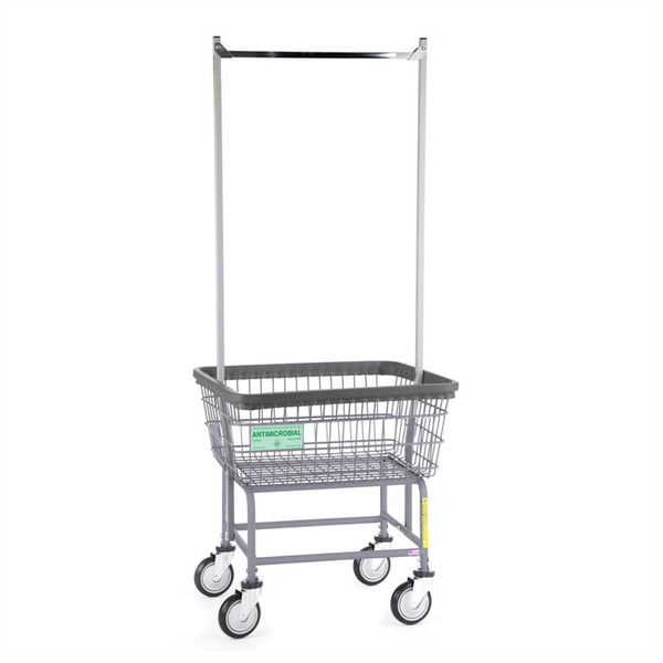 Antimicrobial Standard Laundry Cart w/ Double Pole Rack