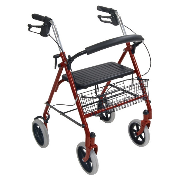 Steel 4 Wheel Rollator with Fold Up Removable Back Support