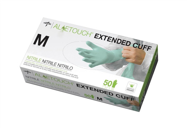 "Aloetouch 12"" Powder-Free Latex-Free Nitrile Exam Gloves, Green, Small"