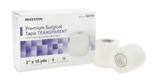 Medical Tape McKesson Water Resistant Plastic  Transparent NonSterile