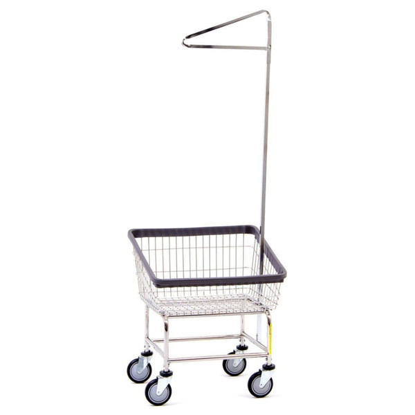 Front Load Laundry Cart w/Single Pole Rack