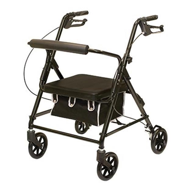 Probasics 4 Wheeled Aluminum Rollator With Padded Seat and Loop Brakes - Metallic Blue