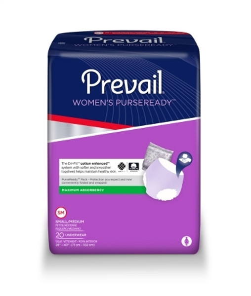 Adult Absorbent Underwear Prevail Womens' PurseReady Pull On Disposable Moderate Absorbency
