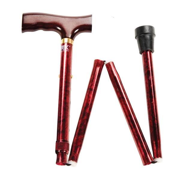 CAREX DESIGNER FOLDING CANE WITH DERBY-STYLE HANDLE- RED