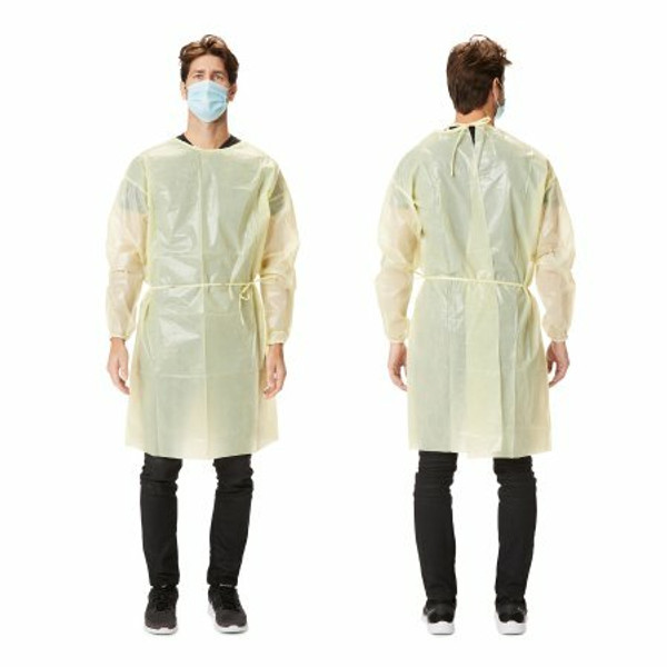 Over-the-Head Protective Procedure Gown - X-Large, Yellow, Non-Sterile, AAMI Level 2 Disposable